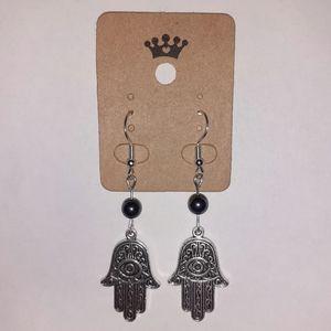 Hamsa Amulet + Hematite Hook Earrings
